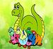 Pinte a Família de Dinossauros